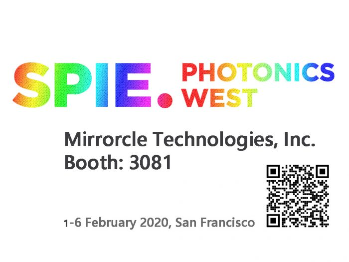 SPIE Photonics West Mirrorcle Technologies 2020 booth at 3081 QR scan